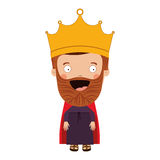Colorful king with crown and beard Royalty Free Stock Photography