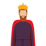 Colorful king half body with crown and beard without a face Stock Photos