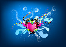 Colorful king heart graphic. Illustration Stock Photography