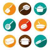 Colorful kitchen doodle cookware flat icons set with shadow Royalty Free Stock Photo