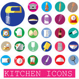 Colorful kitchen icons in color circle Stock Image