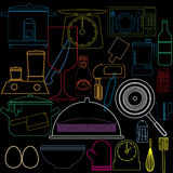 Colorful kitchen icons graphic design Stock Photo