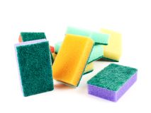 Colorful kitchen sponge composition Stock Images