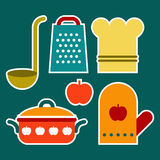 Colorful kitchen symbols Stock Images