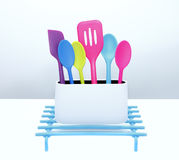 Kitchen utensils. Colorful home kitchen utensils tools Stock Photography