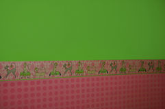 Colorful kitchen wall. Kitchen wall: the upper part is green wallpaper with cats and and the lower part is pink with dots royalty free illustration