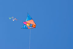 Colorful kite. In blue sky royalty free stock photos