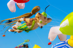 Colorful kite on blue sky. At Thailand Stock Photography