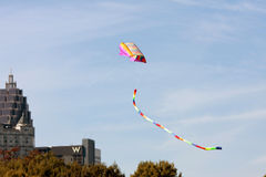 Colorful Kite Flies High On Sunny Autumn Day In Atlanta Stock Images