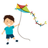 Colorful kite Flying. Over white background, vector illustration Royalty Free Stock Photography