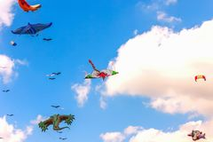 Colorful kite free to fly in the clear sky, a beautiful summer d. Ay, the International Kite Festival stock photo