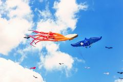 Colorful kite free to fly in the clear sky, a beautiful summer d. Ay, the International Kite Festival royalty free stock photo