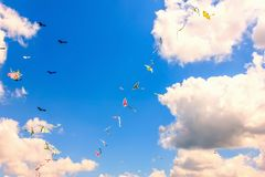 Colorful kite free to fly in the clear sky, a beautiful summer d. Ay, Kite Festival stock image