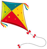 Colorful kite on white background Royalty Free Stock Photo