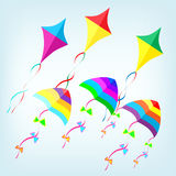 Colorful kites. Six colorful kites in the sky Stock Images