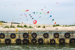 Colorful Kites on Baltic Beach. Stock Images