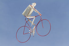 Colorful kites bicycle flying in the sky Stock Photos