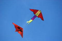 Colorful kites flying. In the blue skies Royalty Free Stock Photography