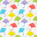 Colorful kites flying. Seamless pattern colorful kites flying in the cloudy sky.Banner for the festival, or a children's holiday Royalty Free Stock Photos