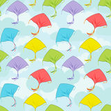 Colorful kites flying. Seamless pattern colorful kites flying in the cloudy sky.Banner for the festival, or a children's holiday Royalty Free Stock Images