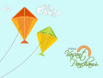 Colorful kites for Happy Vasant Panchami celebration. Royalty Free Stock Photo