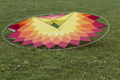 Colorful kites on the lawn Stock Images