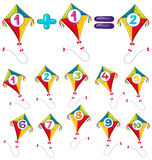 Colorful kites and numbers Stock Photos