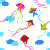 Colorful kites in the sky. Seamless vector pattern with simple colorful design elements. Children textile collection Stock Image