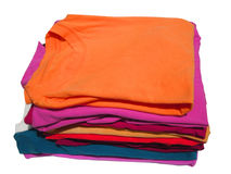Colorful knits. Pile of colorful tshirts freshly folded from the laundry Royalty Free Stock Image