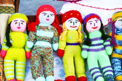Colorful knitted babies. stock photography