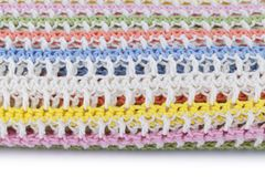 Colorful knitted plaid isolated on white background. Horizontal Royalty Free Stock Photography