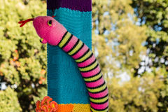Colorful knitted snake Royalty Free Stock Photos