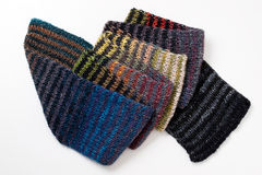 Colorful knitted striped scarf Stock Photo