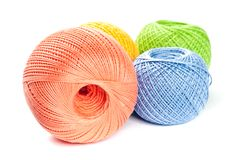Colorful Knitting Balls. On White Baclground Royalty Free Stock Image
