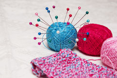 Colorful knitting and thread Stock Image