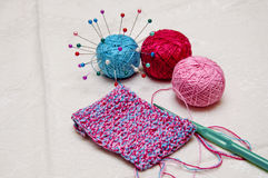 Colorful knitting and thread Royalty Free Stock Image