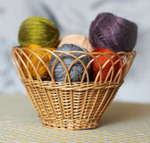 Colorful knitting threads. In the basket Royalty Free Stock Images