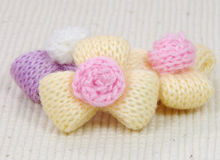 Colorful knitting wool flowers,decorating handmade. Stock Image