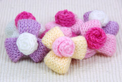 Colorful knitting wool flowers,decorating handmade. Stock Photos
