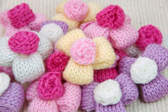 Colorful knitting wool flowers,decorating handmade. Stock Images