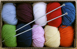Colorful knitting yarn with needles Stock Photos