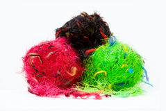Colorful knitting yarns over white Royalty Free Stock Photos