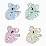 Colorful koalas on white background. Sketches of different colors animals. Cartoon icons of koala bears. royalty free illustration