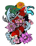 Colorful koi fish and flower. Beautiful line art Koi carp tattoo design ,colorful koi fish and flower Stock Image