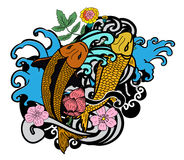 Colorful koi fish and flower. Beautiful line art Koi carp tattoo design ,colorful koi fish and flower Stock Photos
