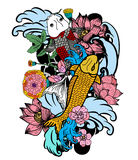 Colorful koi fish and flower. Beautiful line art Koi carp tattoo design ,colorful koi fish and flower Stock Images