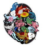 Colorful koi fish and flower Royalty Free Stock Photography