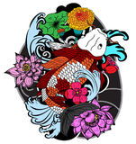 Colorful koi fish and flower Stock Photos