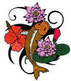 Colorful Koi fish and flower japanese tattoo style isolate on white background. Beautiful line art Koi carp tattoo design ,Beautiful doodle art Koi carp tattoo Royalty Free Stock Photo