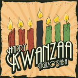 Colorful Kwanzaa Candles in Retro Poster, Vector Illustration Stock Images